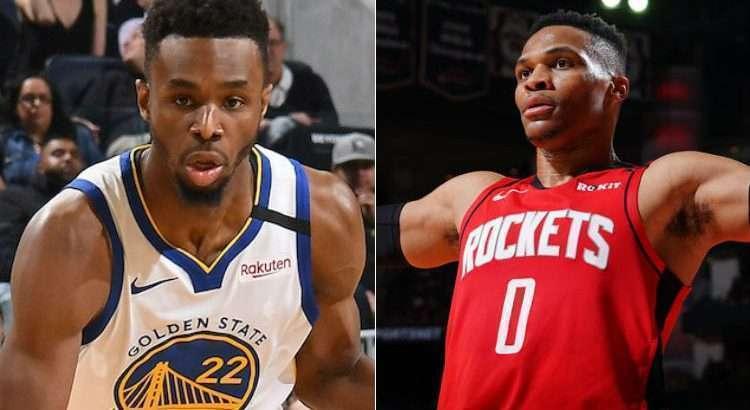 Wiggins e Westbrook se enfrentarão nesta quinta-feira (Fotos: Divulgação/Golden State Warriors e Houston Rockets)