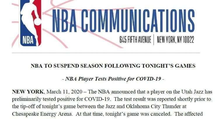 Trecho do comunicado de suspensão da atual temporada (Foto: Divulgação/NBA)