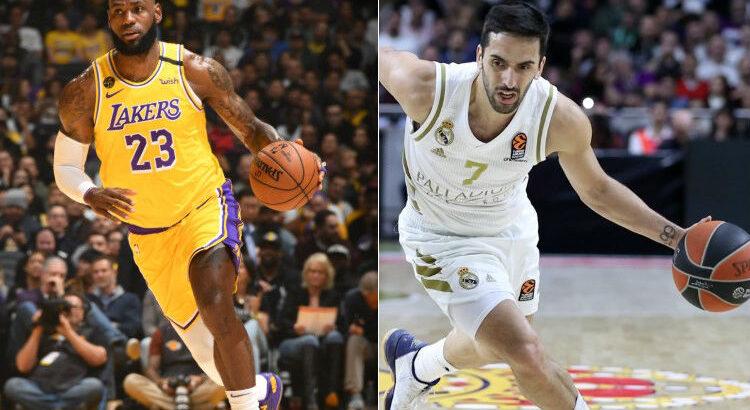 LeBron James, do Los Angeles Lakers, e Facundo Campazzo, do Real Madrid (Divulgação/NBA e Euroliga)