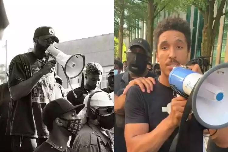 Brown e Brogdon em protestos (Foto: Reprodução/Instagram Jaylen Brown @fchwpo)
