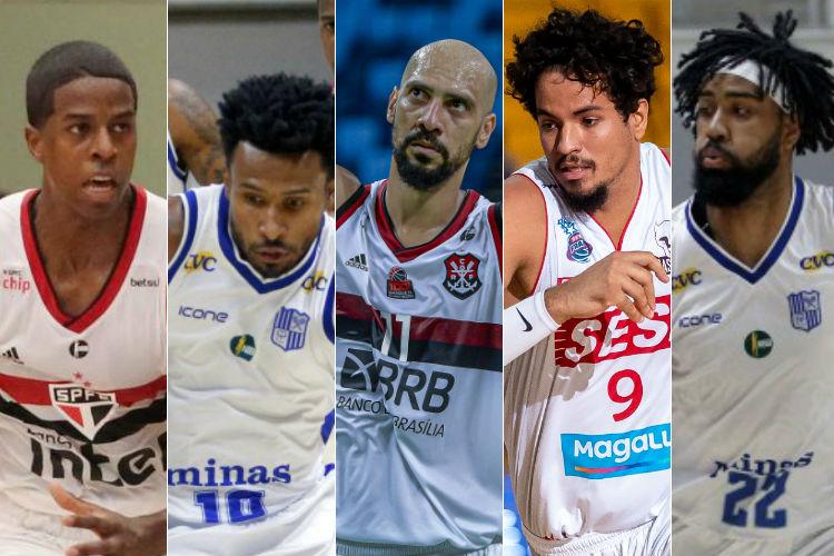 O quinteto ideal do NBB para o Blog Basquete Todo Dia (Fotos: Rubens Chiri/São Paulo; Orlando Bento/Minas; Marcelo Cortes/Flamengo; Marcos Limonti/Franca; Orlando Bento/Minas)