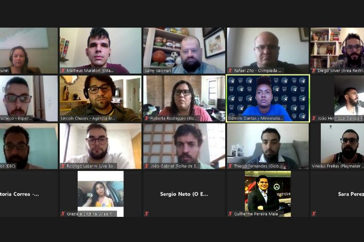Videoconferência com Damiris Dantas, promovida pela comunicação da NBA no Brasil, envolveu diversos veículos (Foto: Reprodução/Zoom)