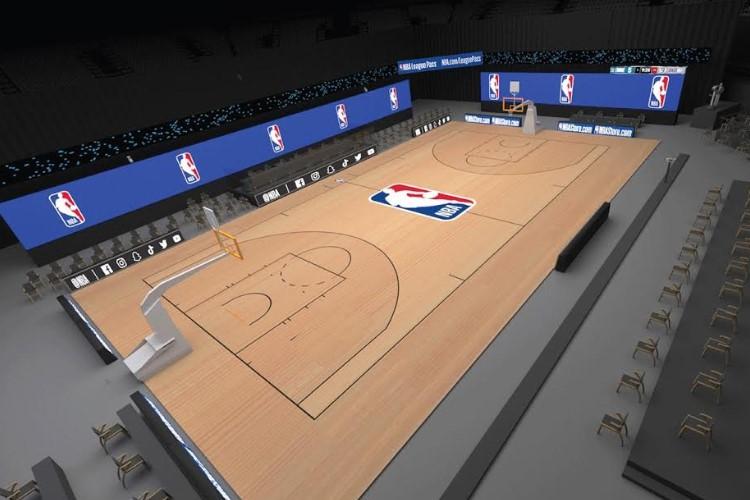 Foram montadas três quadras exclusivas para jogos, além das preparadas para treinamentos (Foto: Divulgação/NBA)