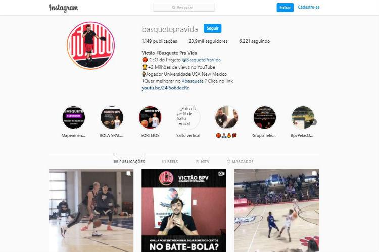 Perfil no Instagram tem mais de 23 mil seguidores (Foto: Reprodução/Instagram Basquete Pra Vida)