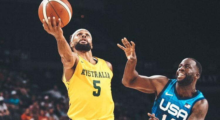 Armador australiano Patty Mills foi o cestinha da partida, com 22 pontos (Foto: Reprodução/Twitter Basketball Australia)