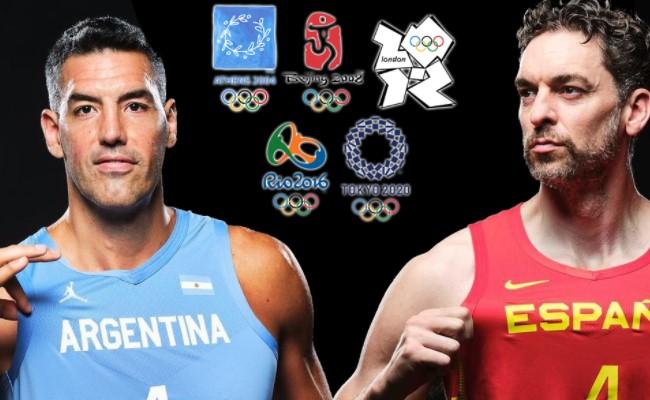 Scola e Gasol, os camisas 4 de Argentina e Espanha e líderes de gerações de respeito (Reprodução/Twitter Basketball-Evolution @bball_evo)